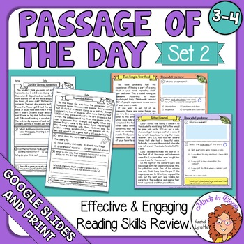 Daily Reading Comprehension Passages plus Google Classroom Option Set 2