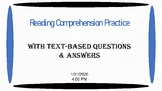 Reading Passage with Comprehension Questions