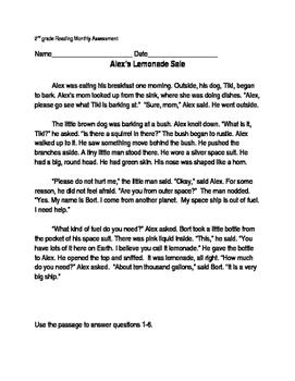 Reading Comprehension Passage and Questions- Alex's Lemonade Sale