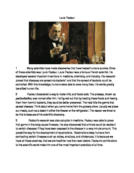 Reading Passage with Questions and Writing Prompt on Scientist Louis Pasteur
