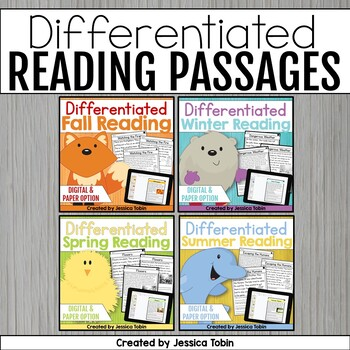 Reading Comprehension Passages and Questions- Differentiated Reading Bundle