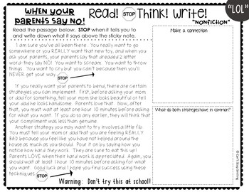 Reading Passages 3rd Grade ~ FUNNY Edition~ Passages Using Text Evidence