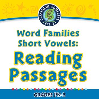 Word Families Short Vowels: Reading Passages - NOTEBOOK Gr. PK-2