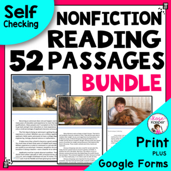 Reading Passages Bundle for Upper Grades