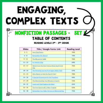 Reading Passages Nonfiction Set 4 for 2nd Grade and 3rd Grade