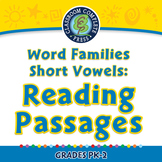 Word Families Short Vowels: Reading Passages - PC Gr. PK-2