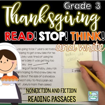 Thanksgiving Reading Passages ~ Stop and Jot ~ Thanksgiving Reading 3rd Grade