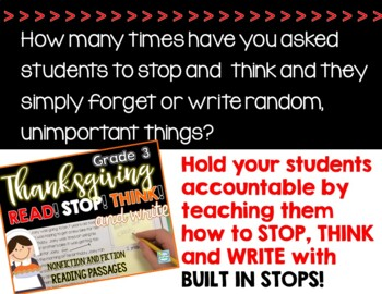 Thanksgiving Reading Passages ~ Stop and Think ~ Thanksgiving Reading 3rd Grade