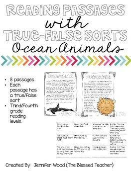 Reading Passages With True/False Sorts {Ocean Animals}