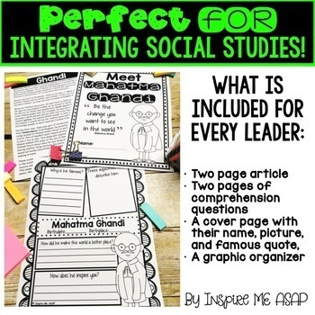 Reading Passages and Comprehension Questions: Influential Leaders