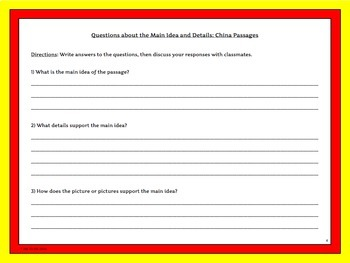 Chinese Culture Reading Passages with Main Idea and Details Activity Sampler