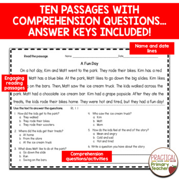 Fiction Reading Passages and Questions for Assessment CCSS RL.1.1