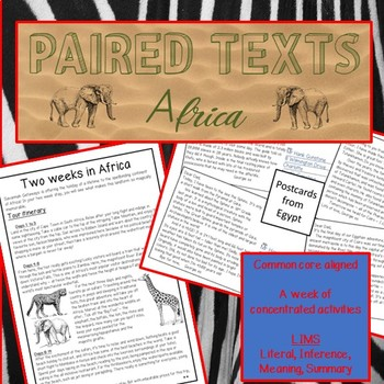 Reading Passages and questions- AFRICA. Paired texts: Ancient Egypt & Safari