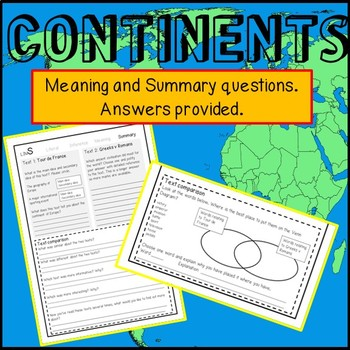 Reading Passages and questions- CONTINENTS. Seven weeks of Paired Texts