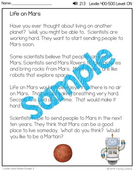 Reading Passages for Intervention with Comprehension and Audio (Life on Mars)