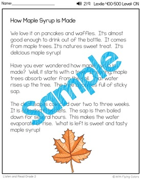 Reading Passages for Intervention with Comprehension and Audio (Maple Syrup)
