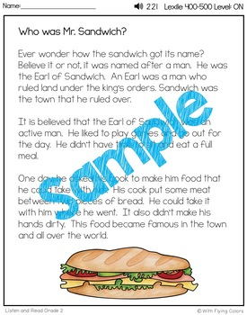 Reading Passages for Intervention with Comprehension and Audio (Sandwiches)