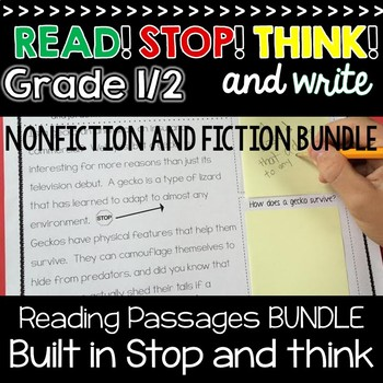 Reading Passages Built in Stop and Jot ~ 1st and 2nd Grade Reading Comp Passages