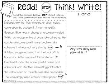 Reading Passages Built in Stop and Think ~ 1st and 2nd Grade Reading Passages