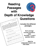 Reading Passages with Depth of Knowledge (DOK) Questions