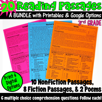 These 20 reading passages are ideal if you are looking for test prep resources! This packet includes fiction passages, nonfiction passages, and poems, and are written for third grade readers.