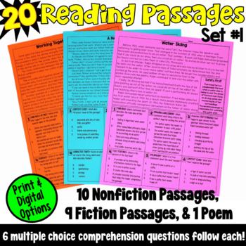These 20 reading passages are ideal if you are looking for test prep resources! This packet includes fiction passages, nonfiction passages, and a poem, and are written for fourth and fifth grade readers.