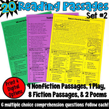 These 20 reading passages are ideal if you are looking for test prep resources! This packet includes fiction passages, nonfiction passages, poems, and a play, and are written for fourth and fifth grade readers.