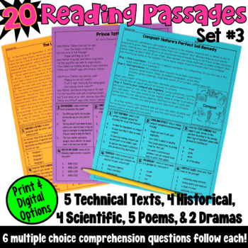 These 20 reading passages are ideal if you are looking for test prep resources! This packet includes technical texts, historical texts, scientific texts, poems, and dramas, and are written for fourth and fifth grade readers.