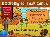 Reading Patterned Sentences for Autumn: BOOM Digital Task Cards