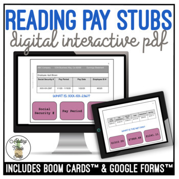 Reading Pay Stubs Digital Interactive Activity