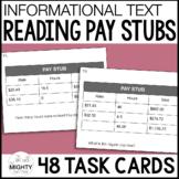 Reading Pay Stubs Task Cards (Level 1, basic) - functional reading