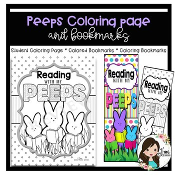Reading Peeps Coloring Page and Bookmarks