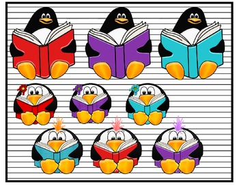 Reading Penguins Clip Art Collection