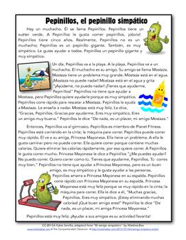 Reading: Pepinillos, el muchacho simpático