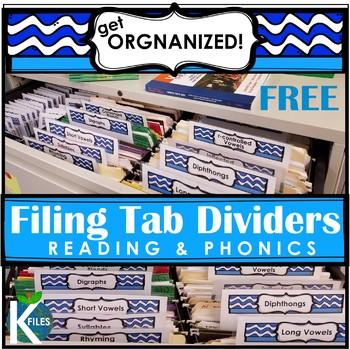 Reading & Phonics Filing Dividers