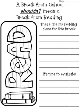 Reading Plans FREEBIE (to be used before and after school breaks)