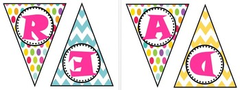 Reading Polka Dot and Chevron Bunting Banner
