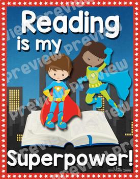 Superhero Reading Poster Bundle