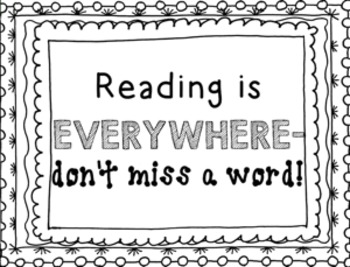 Reading Poster Freebie- Black and White