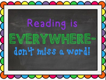 Reading Poster- Rainbow Frame
