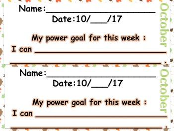Reading Power Goal Sheet October