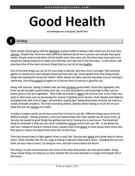 Reading Practice: Good Health