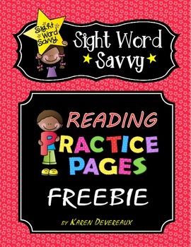 Reading Practice Pages -- FREEBIE--- Sight Word Savvy