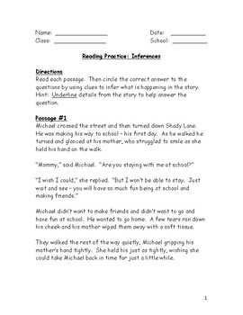 Reading Practice Sheet -- Inferences