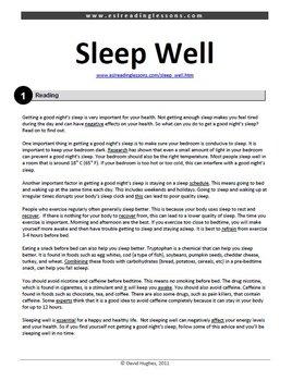 Reading Practice: Sleep Well