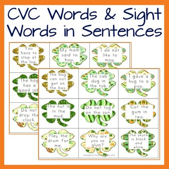 Reading Practice with CVC words, blends and sentences- St. Patrick's Day theme