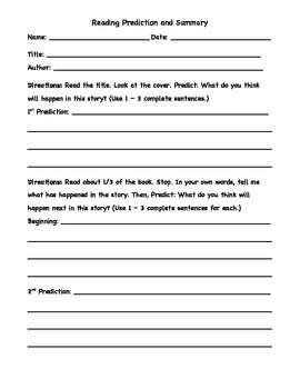 Reading Prediction and Summary Worksheet