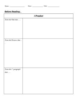 Reading Predictions - Before, During, & After Reading (Literacy)