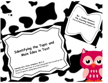 Reading Primary:  Identifying the Topic and Main Idea in Text