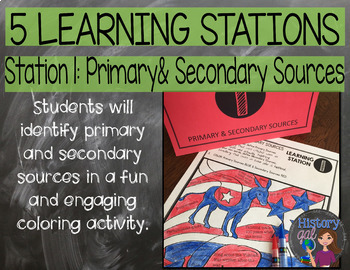 Reading Primary and Secondary Sources Doodle Notes and Stations